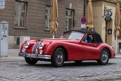 Jaguar oldtimer car. Augsburg, Germany - October 1, 2017: Jaguar oldtimer car at the Fuggerstadt Classic 2017 Oldtimer Rallye on October 1, 2017 in Augsburg Royalty Free Stock Image
