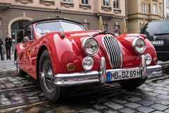 Jaguar oldtimer car. Augsburg, Germany - October 1, 2017: Jaguar oldtimer car at the Fuggerstadt Classic 2017 Oldtimer Rallye on October 1, 2017 in Augsburg Stock Photos