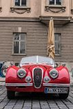 Jaguar oldtimer car. Augsburg, Germany - October 1, 2017: Jaguar oldtimer car at the Fuggerstadt Classic 2017 Oldtimer Rallye on October 1, 2017 in Augsburg Royalty Free Stock Photo