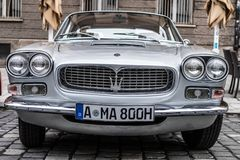 Maserati oldtimer car. Augsburg, Germany - October 1, 2017: Maserati oldtimer car at the Fuggerstadt Classic 2017 Oldtimer Rallye on October 1, 2017 in Augsburg Royalty Free Stock Photography