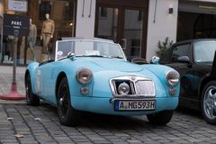 1959 MG A 1600 oldtimer car. Augsburg, Germany - October 1, 2017: 1959 MG A 1600 oldtimer car at the Fuggerstadt Classic 2017 Oldtimer Rallye on October 1, 2017 Royalty Free Stock Photo