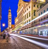 Augsburg, Germany. At Rathausplatz as a street car passes by Stock Photography