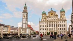 Augsburg huvudsaklig Plaza arkivbilder