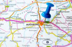 Augsburg on map. With push pin Royalty Free Stock Images