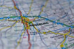 Augsburski na mapie Fotografia Royalty Free