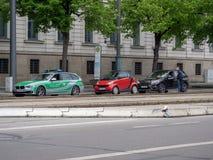 Augsburski, Niemcy, Maj - 7, 2019: Niemiecka milicyjna kontrola w mieście Augsburski obrazy stock