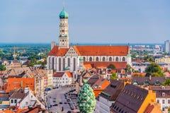Augsburski, Niemcy miasteczka linia horyzontu zdjęcie stock