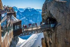 AUGUILLE DU MIDI, FRANCE -2 AUGUST 2013:top station of the Aigui Royalty Free Stock Photos