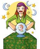Augur girl 01 with background. Gypsy augur girl with magic sphere Royalty Free Stock Photos