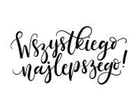 Auguri che segnano traduzione con lettere dell'iscrizione su polacco Wszystk royalty illustrazione gratis