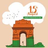 15 august świętowanie India brama przy Delhi ind kreśli wektorową ilustrację royalty ilustracja