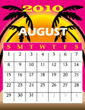 August 2010. Vector Illustration of 2010 Calendar with a monthly, I have all 12 months designed separately or all 12 months in a single design Royalty Free Stock Photo