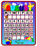 August 2010 calendar. Illustration of a a colorful august 2010 calendar Stock Photo