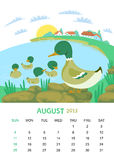 August. Vector calendar 2013. August. Animals design vector illustration