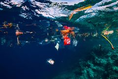 Free August 28, 2018. Bali, Indonesia. Underwater Ocean With Plastic And Plastic Bags, Ecological Problem Stock Images - 160518904