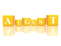 August in 3d cubes. 3d yellow cubes with letters makes august Royalty Free Stock Photos