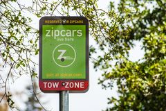 Free August 8, 2019 Palo Alto / CA / USA - Zipcars Reserved Parking Sign In A Parking Lot In Silicon Valley; Zipcar Is A Car Sharing Stock Photo - 155478810