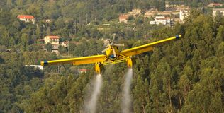 Avialsa T-35 - Canader, Fire-Fighter Airplane in Geres National Park Dam, Portugal. 23 of August 2017, Avialsa T-35 - Canader, Fire-Fighter Airplane in Geres stock image