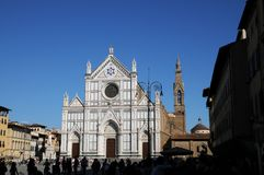 The Basilica of Santa Croce Basilica of the Holy Cross on square of the same name in Florence, Tuscany, Italy. F. 22 August 2017: The Basilica of Santa Croce royalty free stock photos