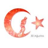 august bayrami för zafer 30 eller Victory Day Turkey och den nationella dagen också vektor för coreldrawillustration Rött och vit Arkivfoto