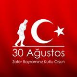 august bayrami för zafer 30 eller Victory Day Turkey och den nationella dagen också vektor för coreldrawillustration Rött och vit Royaltyfri Fotografi