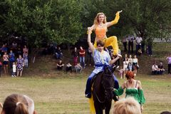 August 28, 2017: Beautiful girl dances east dance on a black horse in Ukraine, Odns region, August 28, 2017 Royalty Free Stock Images
