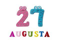 27. August Bild vom 27. August, Nahaufnahme von Zahlen und Buchstaben auf weißem Hintergrund Stockfotografie