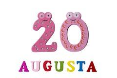20. August Bild vom 20. August, Nahaufnahme von Zahlen und Buchstaben auf weißem Hintergrund Stockbilder
