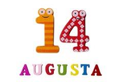 14. August Bild vom 14. August, Nahaufnahme von Zahlen und Buchstaben auf weißem Hintergrund Stockfotografie