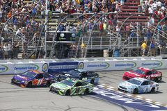 NASCAR: August 12 Consumers Energy 400. August 12, 2018 - Brooklyn, Michigan, USA: Denny Hamlin 11, Kyle Busch 18, Erik Jones 20, Kevin Harvick 4 and Ryan Newman royalty free stock photo