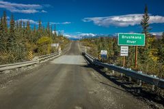 AUGUST 27, 2016 - Brushnaka River bridge offers views of Alaskan Range - Denali Highway, Route 8, Alaska Stock Image