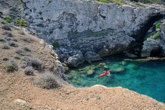 Puglia, Italy, a bay in the San Domino island in the Tremiti Archipelago royalty free stock photos