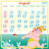 August calendar 2009 Royalty Free Stock Photo