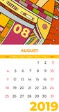 2019 August calendar abstract contemporary art vector. Desk, screen, desktop month 08, 2019, colorful 2019 calendar template stock illustration
