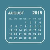 August 2018 calendar. Calendar planner design template. Week sta. Rts on Sunday. Business vector illustration Stock Photography