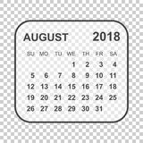 August 2018 calendar. Calendar planner design template. Week sta. Rts on Sunday. Business vector illustration Stock Photo