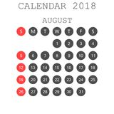 August 2018 calendar. Calendar planner design template. Week sta. Rts on Sunday. Business vector illustration Royalty Free Stock Image