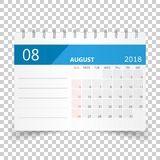 August 2018 calendar. Calendar planner design template. Week sta. Rts on Sunday. Business vector illustration Stock Image