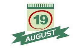 19 August Calendar con la cinta Foto de archivo libre de regalías