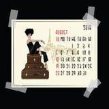 August Calendar con la muchacha de la moda Imagenes de archivo