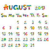 August 2017 calendar Royalty Free Stock Photo
