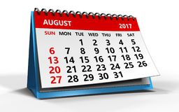 August 2017 calendar. 3d illustration of august 2017 calendar over white background Royalty Free Stock Photo