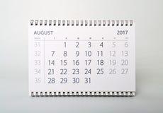August Calendar dell'anno due mila diciassette Fotografia Stock Libera da Diritti