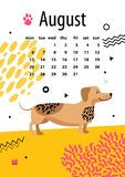 August Calendar für 2018-jähriges mit lustigem Dachshund stock abbildung