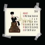 August. Calendar with fashion girl. August. 2018 American and Canadian calendar with fashion girl in sketch style Stock Images