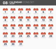 August Calendar-geplaatste pictogrammen Datum en tijd 2018 Jaar royalty-vrije illustratie