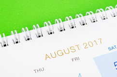 August Calendar Header Photographie stock libre de droits