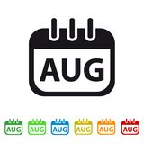 August Calendar Icon - Colorful Vector symbol. Isolated On White Background vector illustration