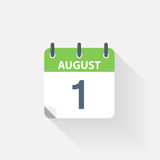 1 august calendar icon. On grey background vector illustration