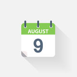 9 august calendar icon. On grey background royalty free illustration